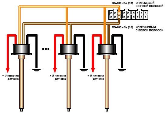 Общая схема подключения датчиков уровня топлива к шине RS-485.